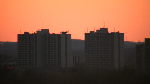 Buildings at dawn, just before the sunrise (High Definition) Footage