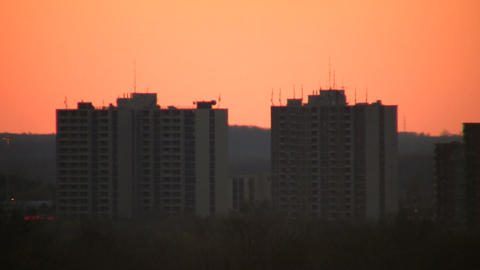 Buildings at dawn, just before the sunrise (High Definition) Stock Video Footage