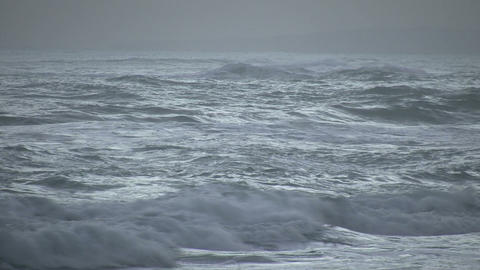 Strong waves on a windy day before sunrise (High Definition) Footage