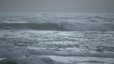 Strong waves on a windy day before sunrise (High Definition) Stock Video Footage