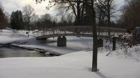 Winter scenic with small bridge crossing over pond (High Definition) Footage