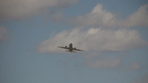 Commercial jet ascends through the sunny sky amidst the... Stock Video Footage