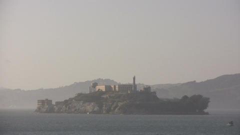 Shot of Alcatraz Island on a hazy day Stock Video Footage