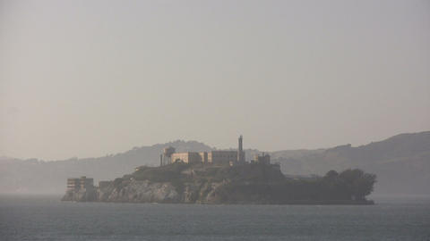 Shot of Alcatraz Island on a hazy day Footage
