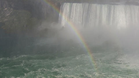 Rainbow is visible amidst the whitewater rapids (High Definition) Footage