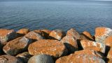 Rusty Colored Rocks Foreground A Beautiful Ocean View (High Definition) stock footage