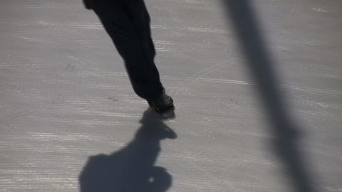 Closeup of an ice skater's feet (High Definition) Footage