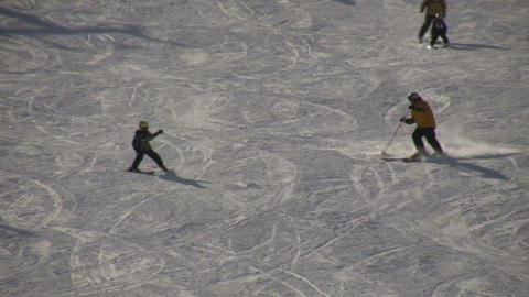 Father and son are skiing down a hill (High Definition) Stock Video Footage