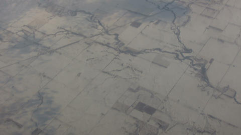 Aerial shot of a snowy landscape Stock Video Footage
