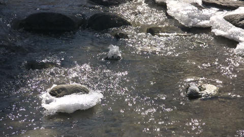 Spring season arrives, melting ice into flowing water (High Definition) Footage