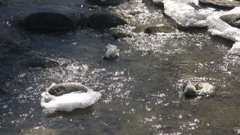 Spring season arrives, melting ice into flowing water... Stock Video Footage