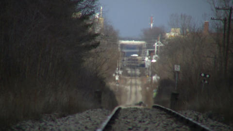 Scenic of train tracks moving into distance (High... Stock Video Footage