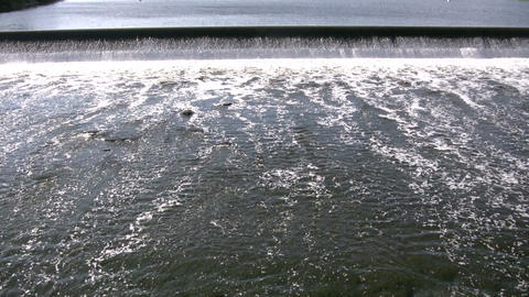 River's surface is turbulent, creating white water rapids (High Definition) Footage