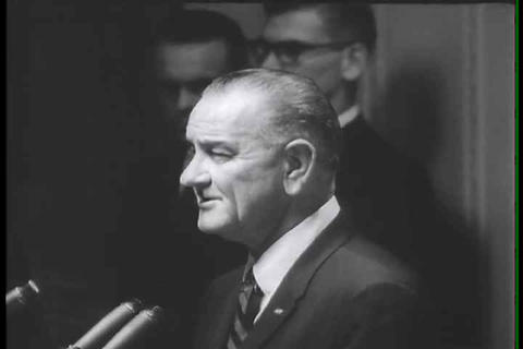 Lyndon B Johnson speaks about Vietnam Live Action