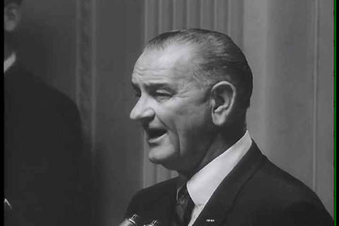 President Lyndon Johnson speaks about Vietnam Live Action
