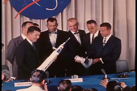 Astronauts at a press conference in 1959 Live Action