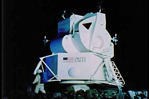 A re-enactment of the Apollo lunar lander with an  Live Action