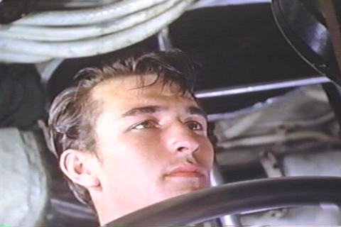 Staged footage of a submarine captain in the Navy  Footage