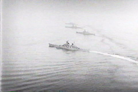Battleships in various formations on the ocean Live Action