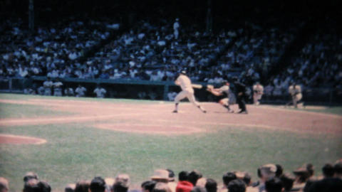 Action At Professional Baseball Game 1967 Vintage stock footage