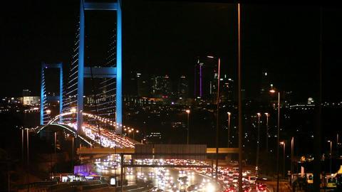 Bridge Lights and Traffic at Night Footage