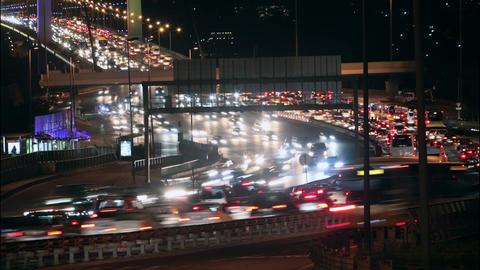 ime lapse Istanbul night traffic on Bosporus Bridg Footage