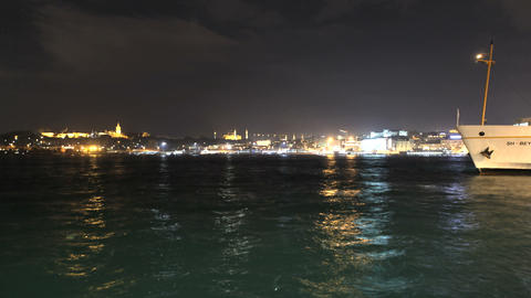 Time lapse ferry night traffic at Bosporus Footage