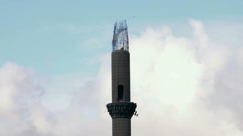 Time Lapse Mosque Minaret Destruction Footage