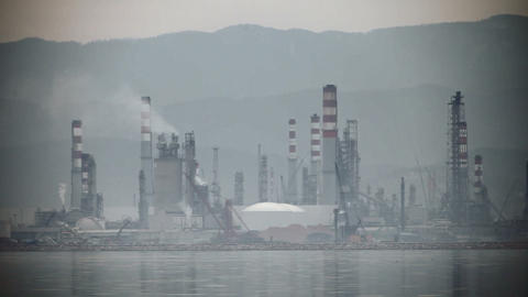 Industry & Smokestacks Near The Sea stock footage