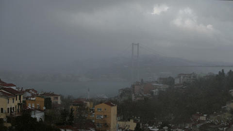 Time lapse Snow storm on Bosporus istanbul Footage