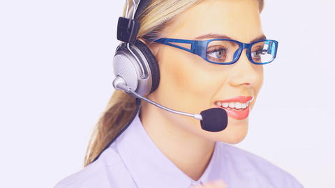 Beautiful Young Telesales Lady stock footage