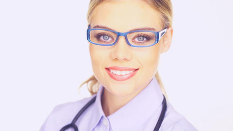 Young female doctor in trendy glasses Footage