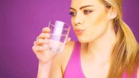 fitness woman drinking water Footage