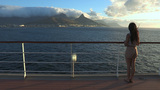 Girl Viewing Cape Town From Ship Deck stock footage