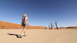 Girl Walking At Sossusvlei In The Namibian Desert stock footage