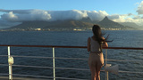 Girl Looking At The View Of Cape Town From A Ship  stock footage