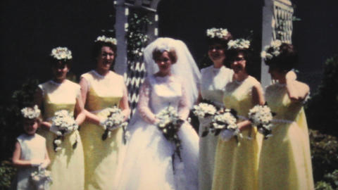 Bride And Bridesmaids Posing For Pictures 1966 Footage