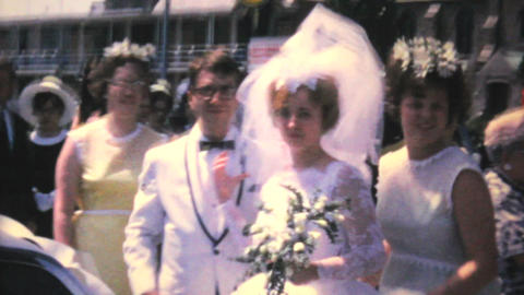 Just Married Wedding Couple In Car 1966 Vintage Footage