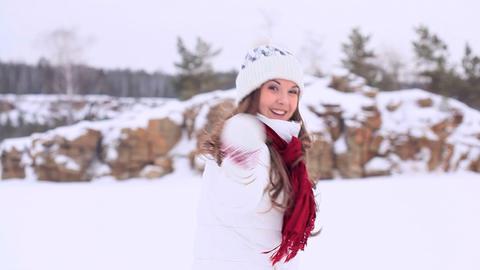 Winter girl. Wave Footage