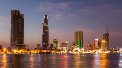 1080 - HO CHI MINH CITY SKYLINE SUNSET TIMELAPSE Footage