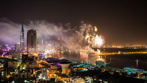 1080 - TET - CHINESE NEW YEAR FIREWORKS - HO CHI M Footage