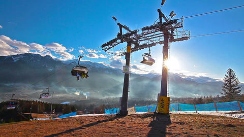 Mountain Landscape And Skiers On A Ski Lift Pov stock footage