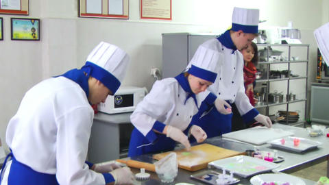 Cook In Kitchen Making Sweets stock footage