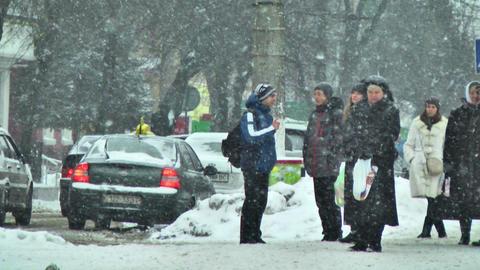 Pedestrians on Street in Snow Footage