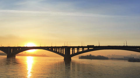 Bridge Over River, Sunset Footage