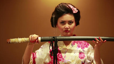 Japanese geisha with sword Footage