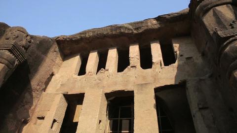 Facade of old Hindu temple Footage