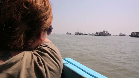 Female Tourist Traveling By Boat stock footage