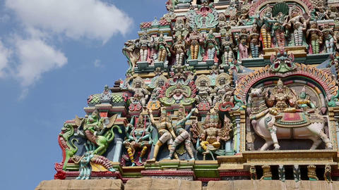 Ornate facade of Hindu temple Footage