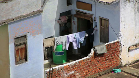 Clothes drying in the sun Footage